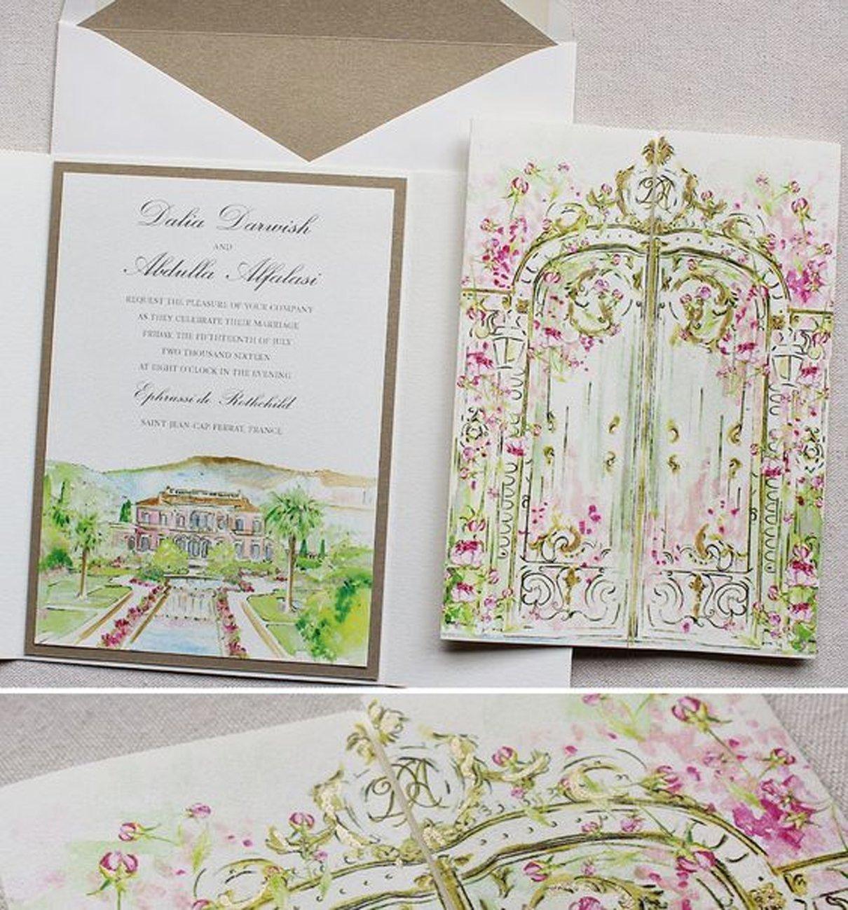 Elementos visuais para casamento: aquarela