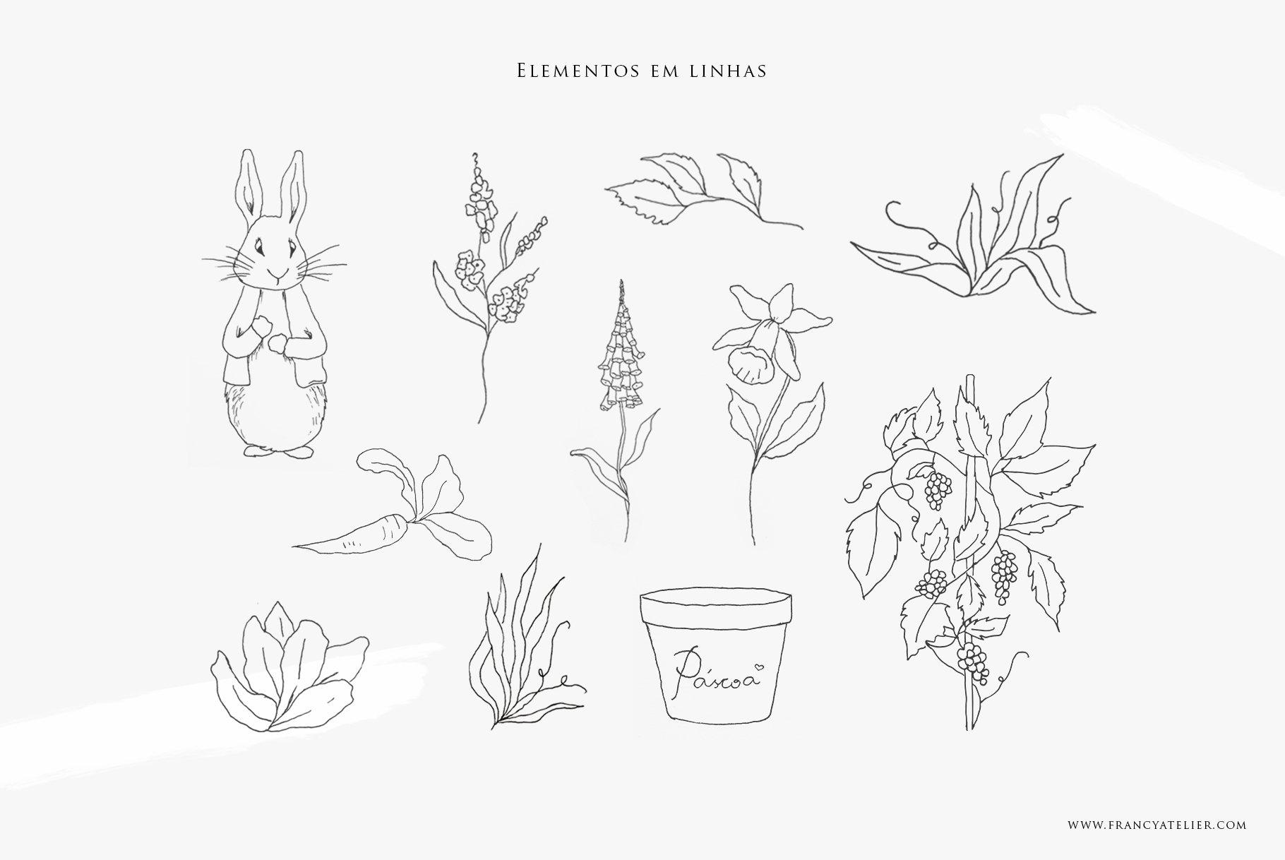 Coleção de Páscoa: elementos em linhas