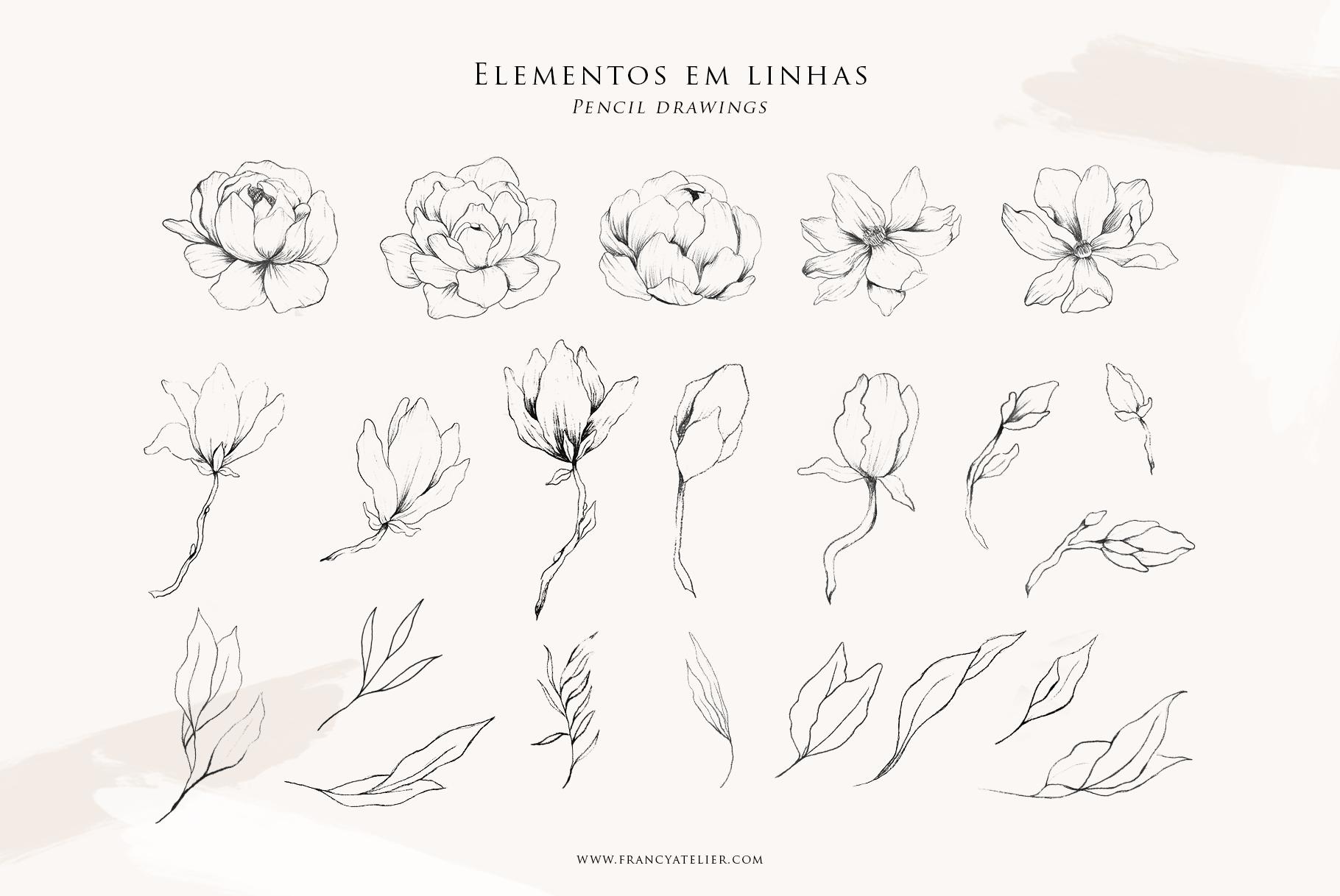 Coleçao Amor Eterno - elementos soltos em linhas